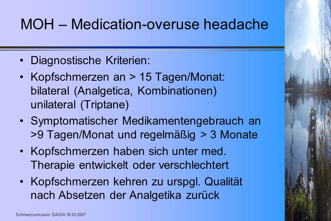 MOH – Medication-overuse headache