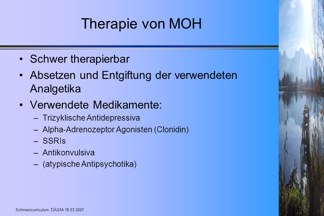Therapie von MOH Schwer therapierbar