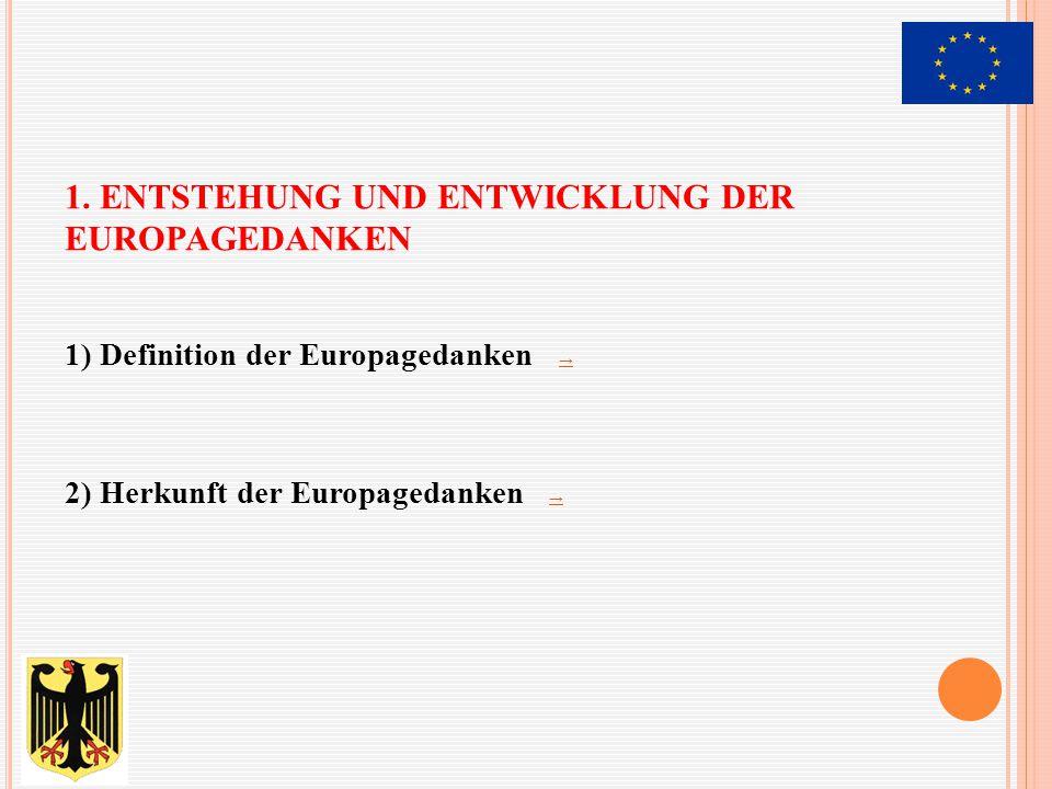 1. Entstehung und Entwicklung der Europagedanken