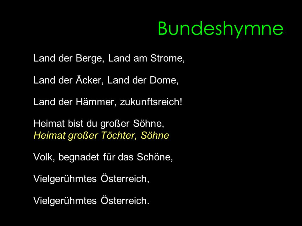 Bundeshymne Land der Berge, Land am Strome,