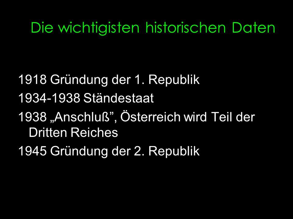 Die wichtigisten historischen Daten