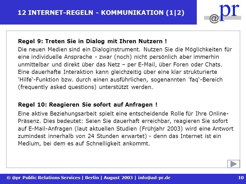 12 INTERNET-REGELN - KOMMUNIKATION (1|2)