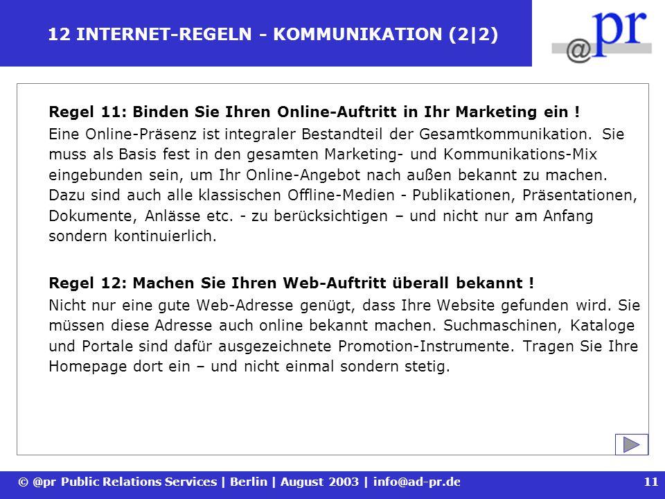 12 INTERNET-REGELN - KOMMUNIKATION (2|2)
