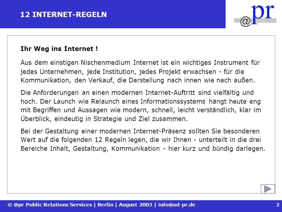 12 INTERNET-REGELN Ihr Weg ins Internet !