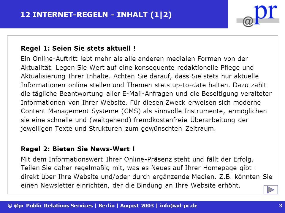 12 INTERNET-REGELN - INHALT (1|2)