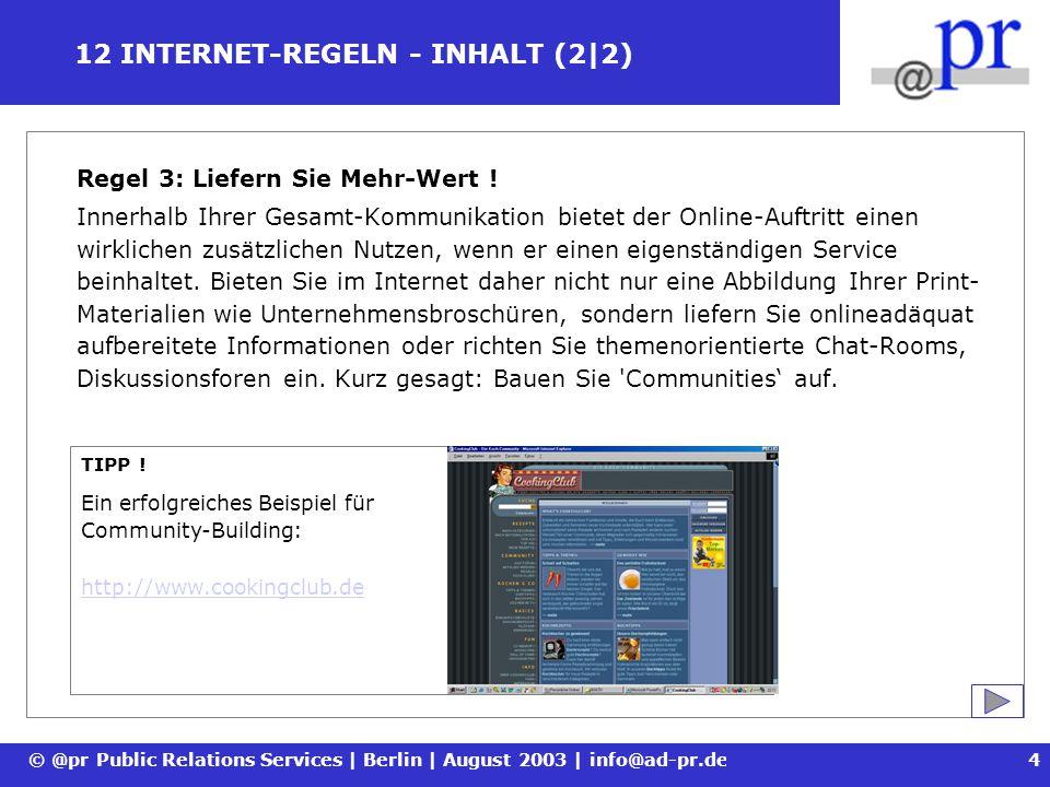 12 INTERNET-REGELN - INHALT (2|2)