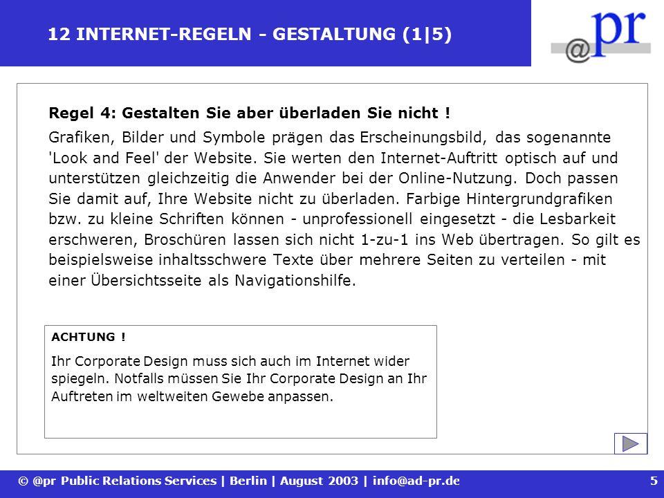 12 INTERNET-REGELN - GESTALTUNG (1|5)