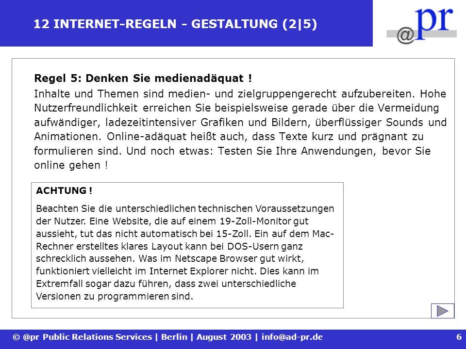 12 INTERNET-REGELN - GESTALTUNG (2|5)