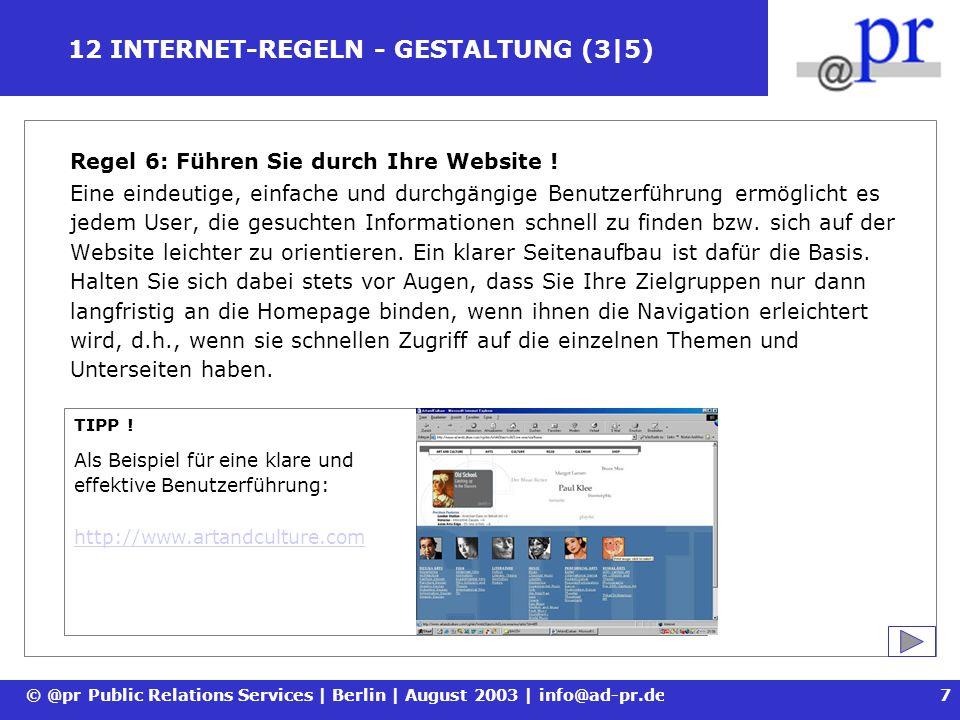 12 INTERNET-REGELN - GESTALTUNG (3|5)