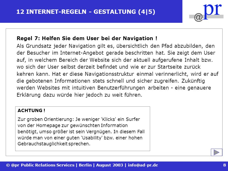 12 INTERNET-REGELN - GESTALTUNG (4|5)