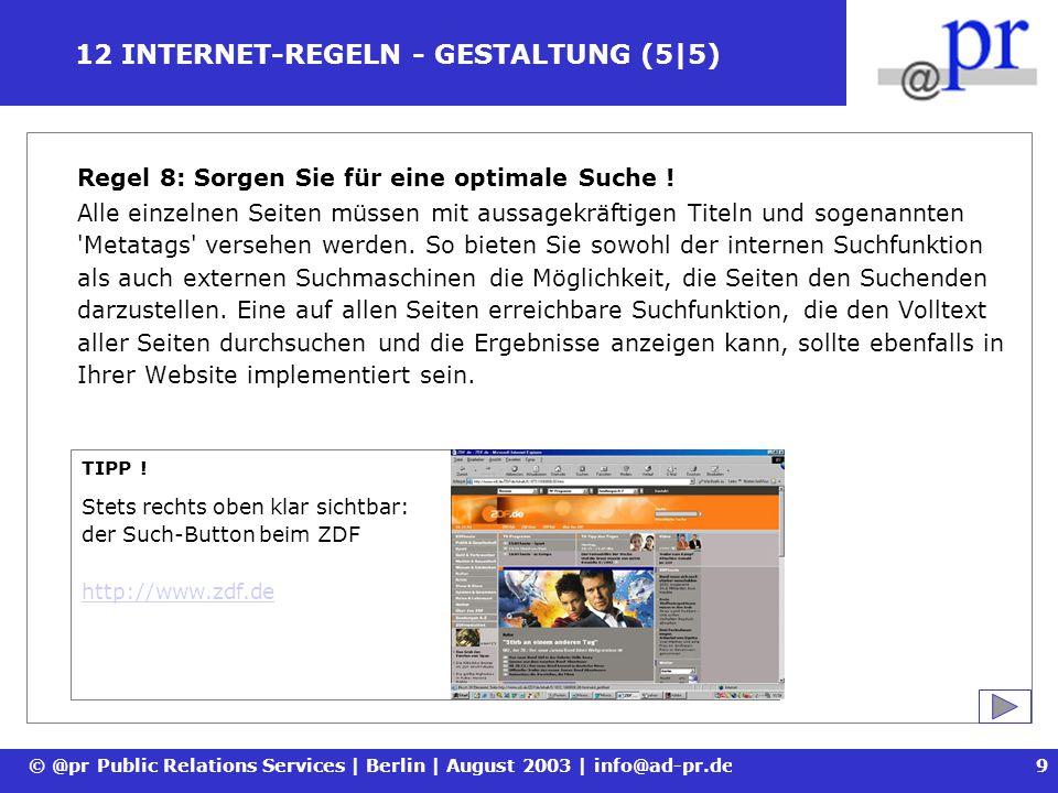 12 INTERNET-REGELN - GESTALTUNG (5|5)