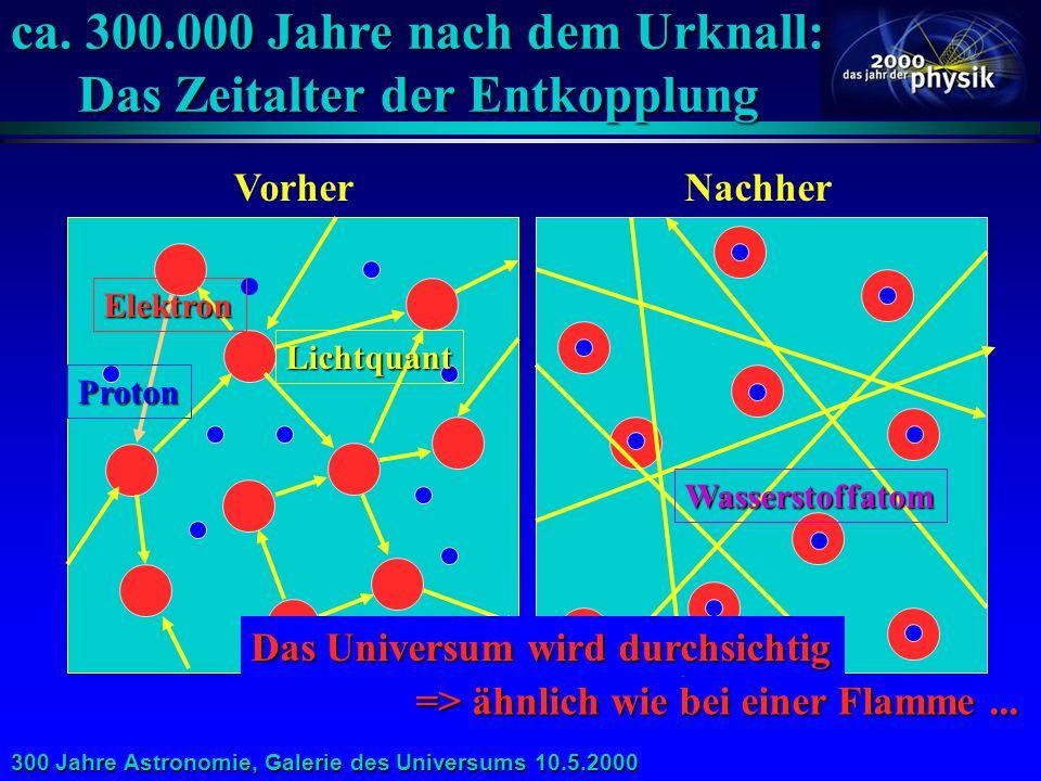 ca. 300.000 Jahre nach dem Urknall: Das Zeitalter der Entkopplung