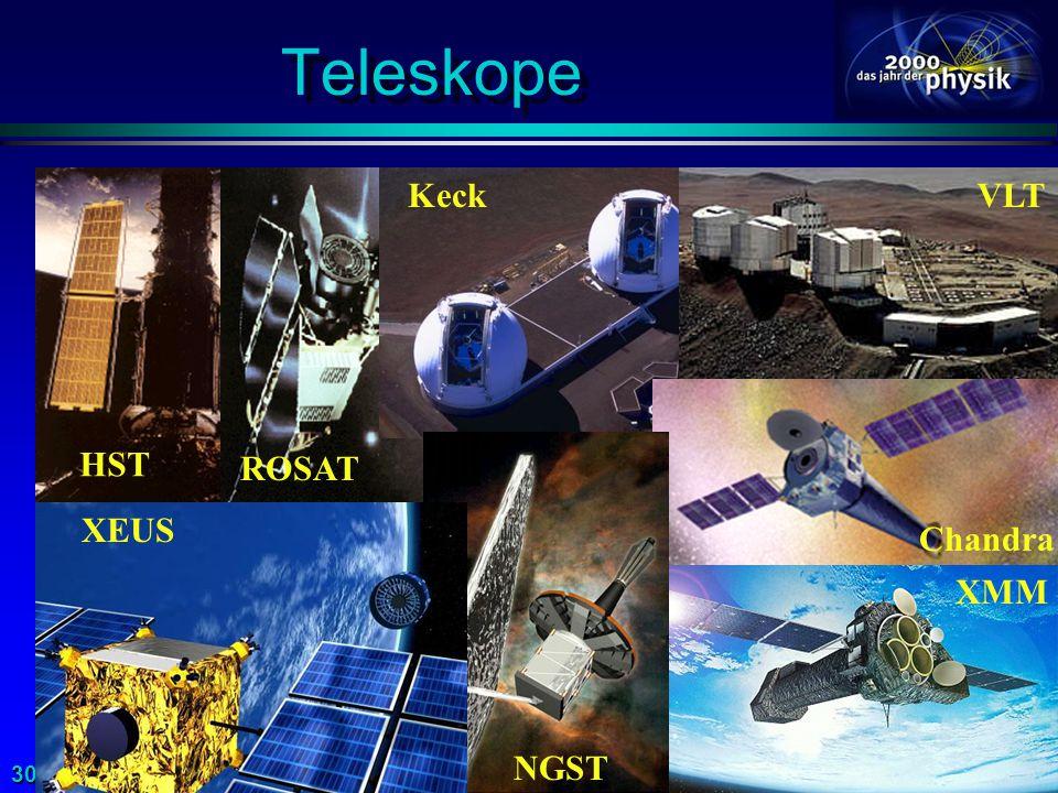 Teleskope HST ROSAT Keck VLT Chandra NGST XEUS XMM