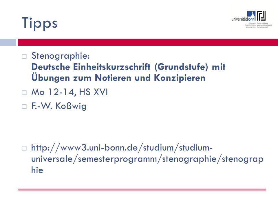 Tipps Stenographie: Deutsche Einheitskurzschrift (Grundstufe) mit Übungen zum Notieren und Konzipieren.