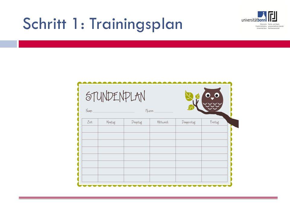Schritt 1: Trainingsplan