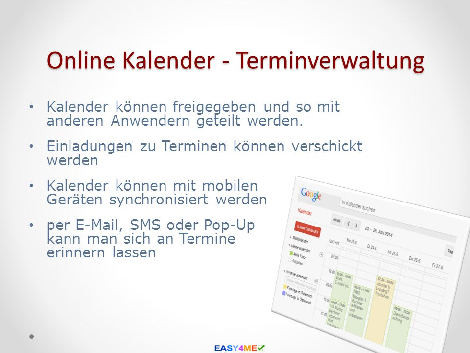 Online Kalender - Terminverwaltung
