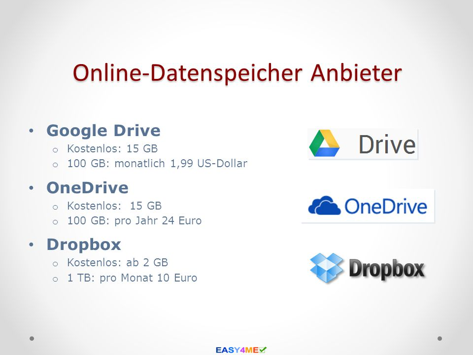 Online-Datenspeicher Anbieter