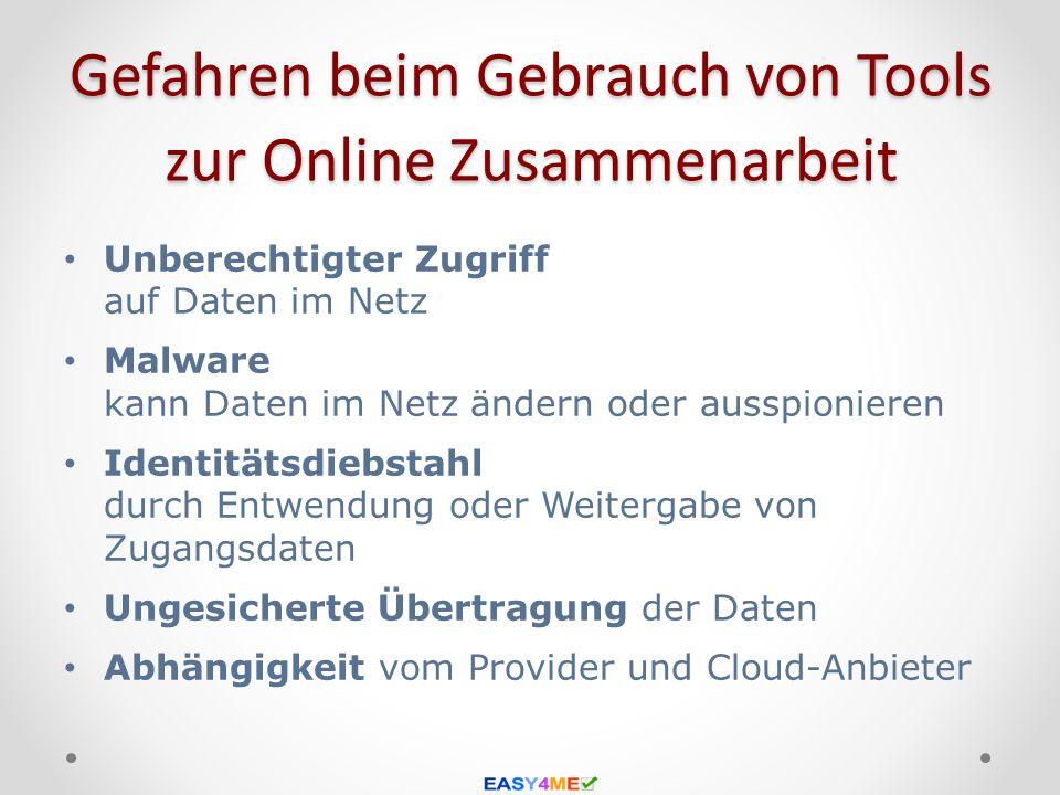 Gefahren beim Gebrauch von Tools zur Online Zusammenarbeit