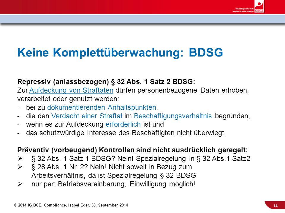 Keine Komplettüberwachung: BDSG