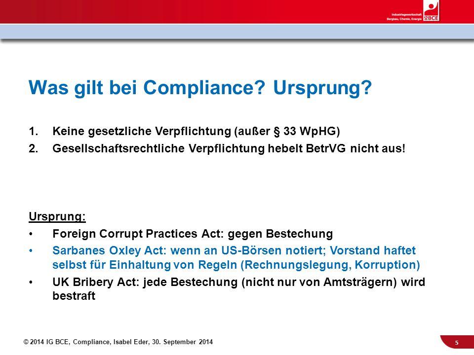 Was gilt bei Compliance Ursprung