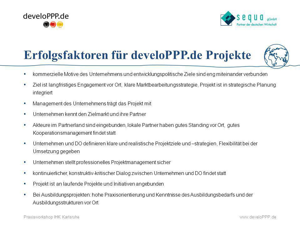 Erfolgsfaktoren für develoPPP.de Projekte