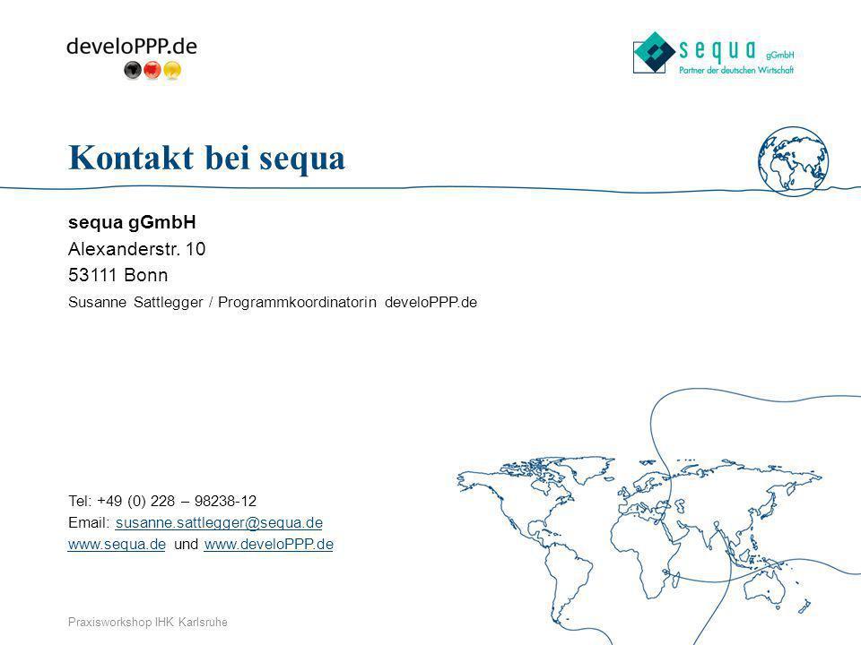 Kontakt bei sequa sequa gGmbH Alexanderstr. 10 53111 Bonn