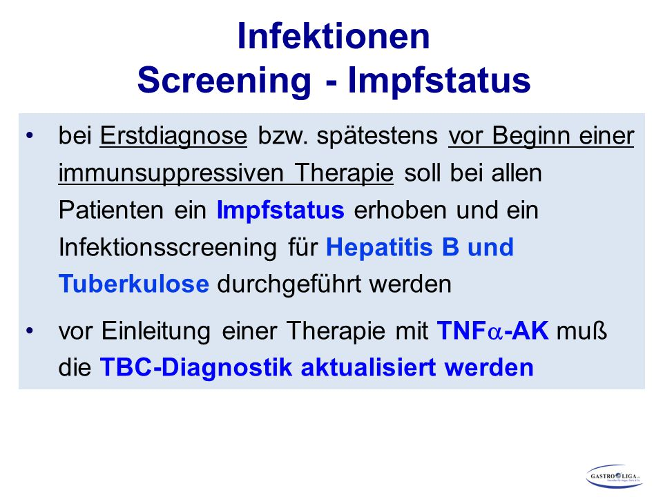 Infektionen Screening - Impfstatus