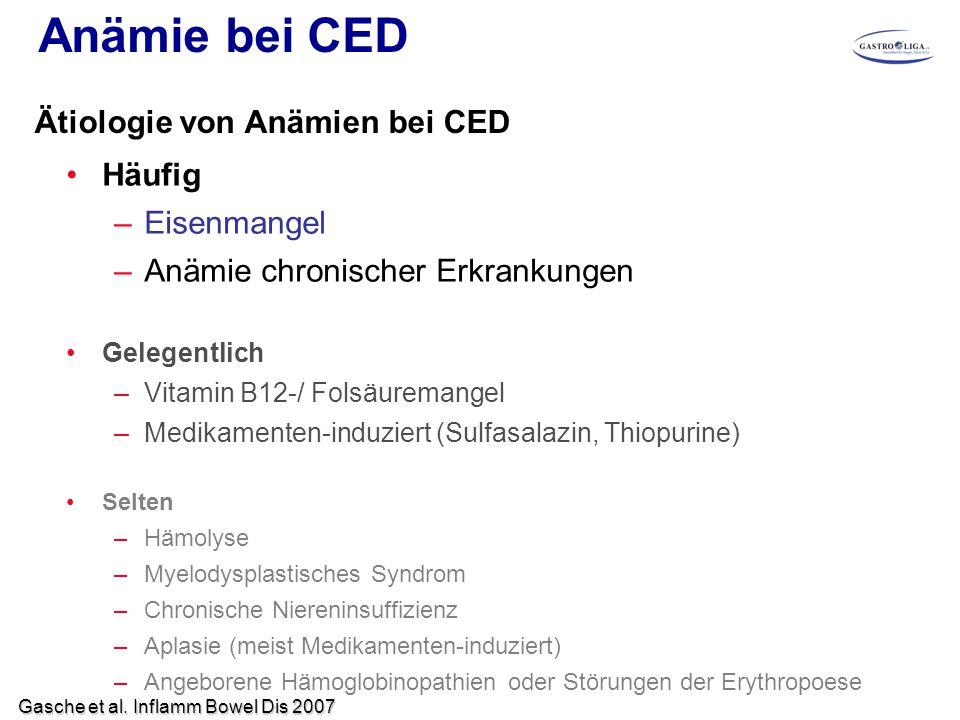 Anämie bei CED Ätiologie von Anämien bei CED Häufig Eisenmangel