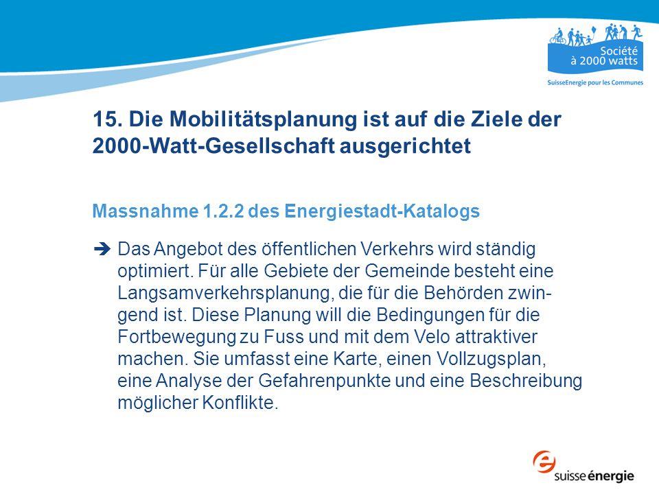 15. Die Mobilitätsplanung ist auf die Ziele der 2000-Watt-Gesellschaft ausgerichtet