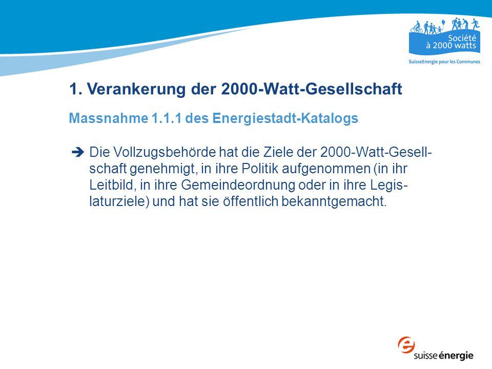 1. Verankerung der 2000-Watt-Gesellschaft