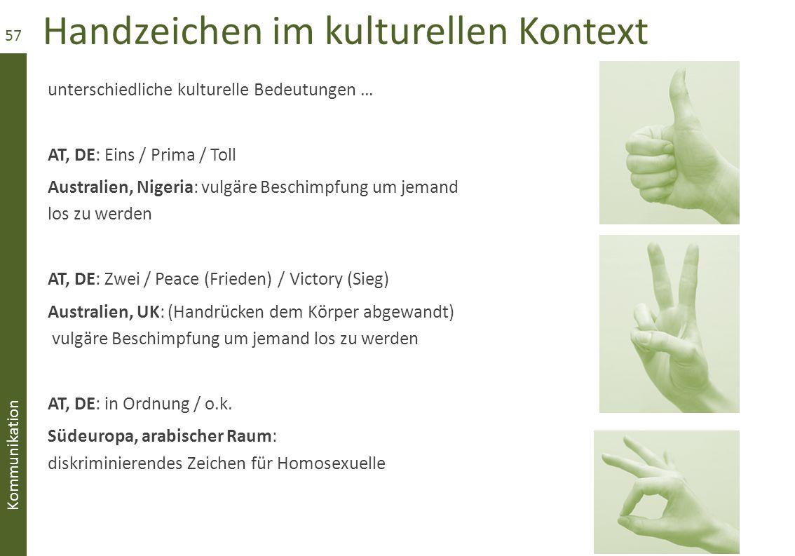 Handzeichen im kulturellen Kontext