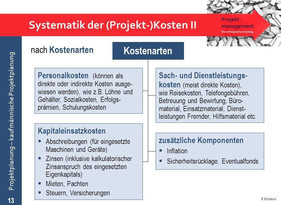 Systematik der (Projekt-)Kosten II