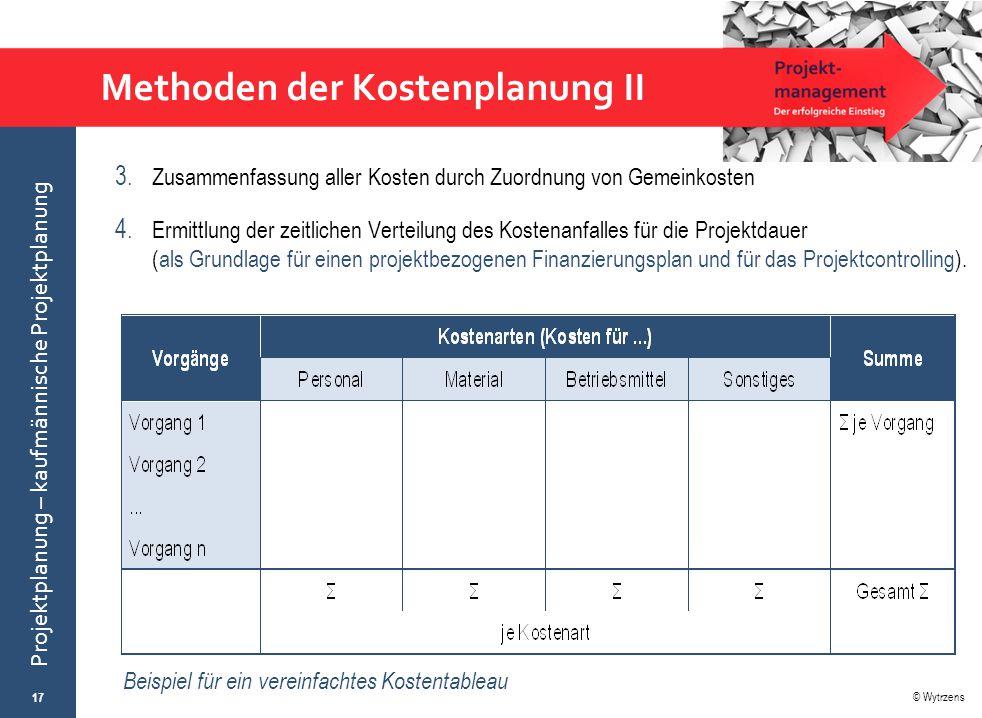 Methoden der Kostenplanung II