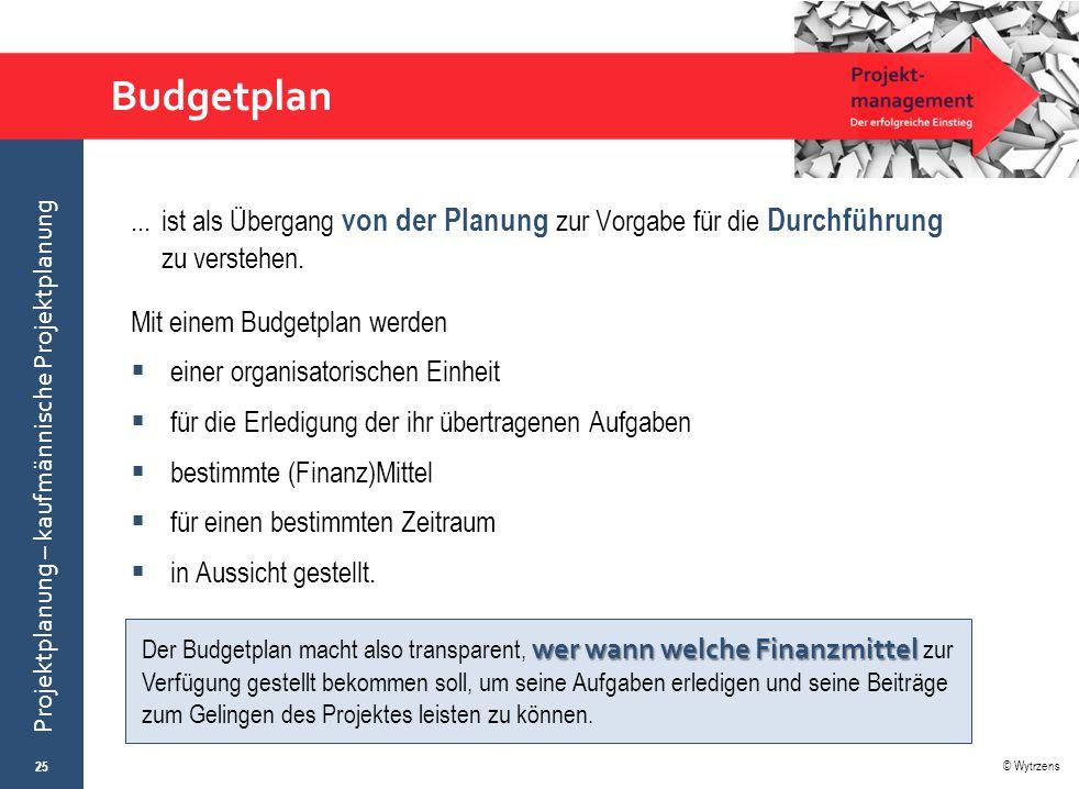 Budgetplan ... ist als Übergang von der Planung zur Vorgabe für die Durchführung zu verstehen. Mit einem Budgetplan werden.