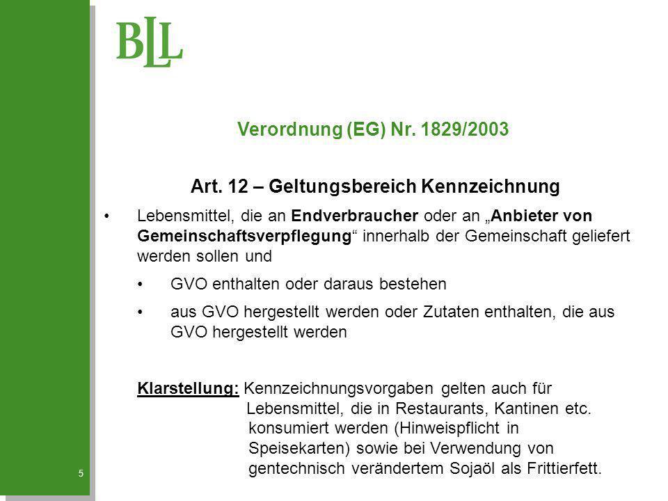 Art. 12 – Geltungsbereich Kennzeichnung