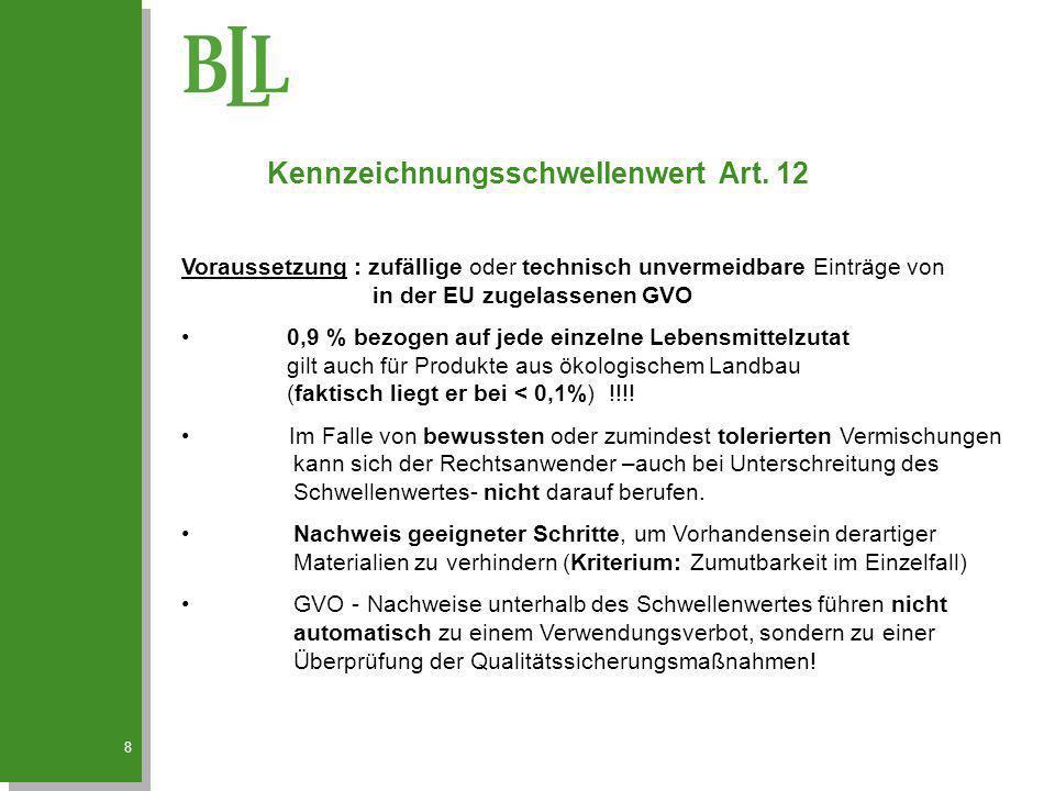 Kennzeichnungsschwellenwert Art. 12
