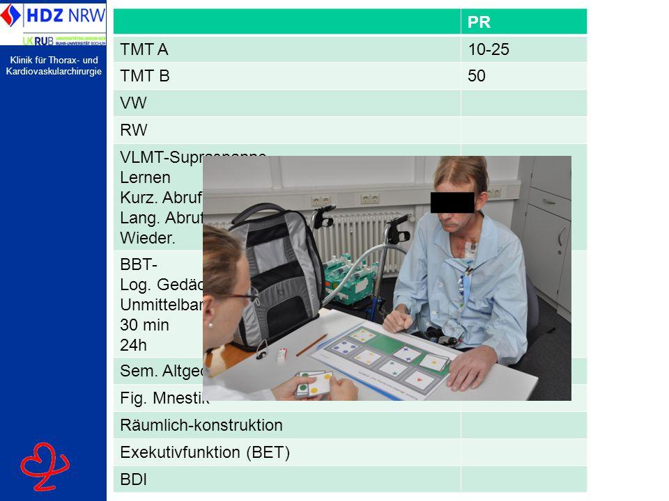 PR TMT A. 10-25. TMT B. 50. VW. RW. VLMT-Supraspanne. Lernen. Kurz. Abruf. Lang. Abruf. Wieder.