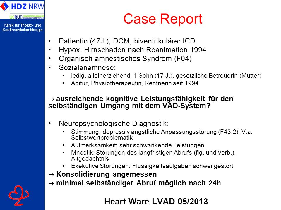 Case Report Heart Ware LVAD 05/2013