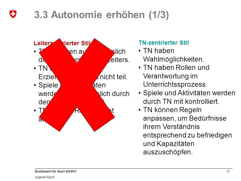 3.3 Autonomie erhöhen (1/3) Leiterzentrierter Stil. TN befolgen ausschliesslich die Anweisungen des Leiters.