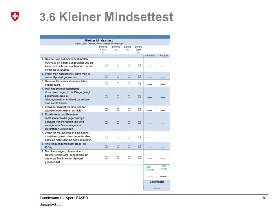 3.6 Kleiner Mindsettest