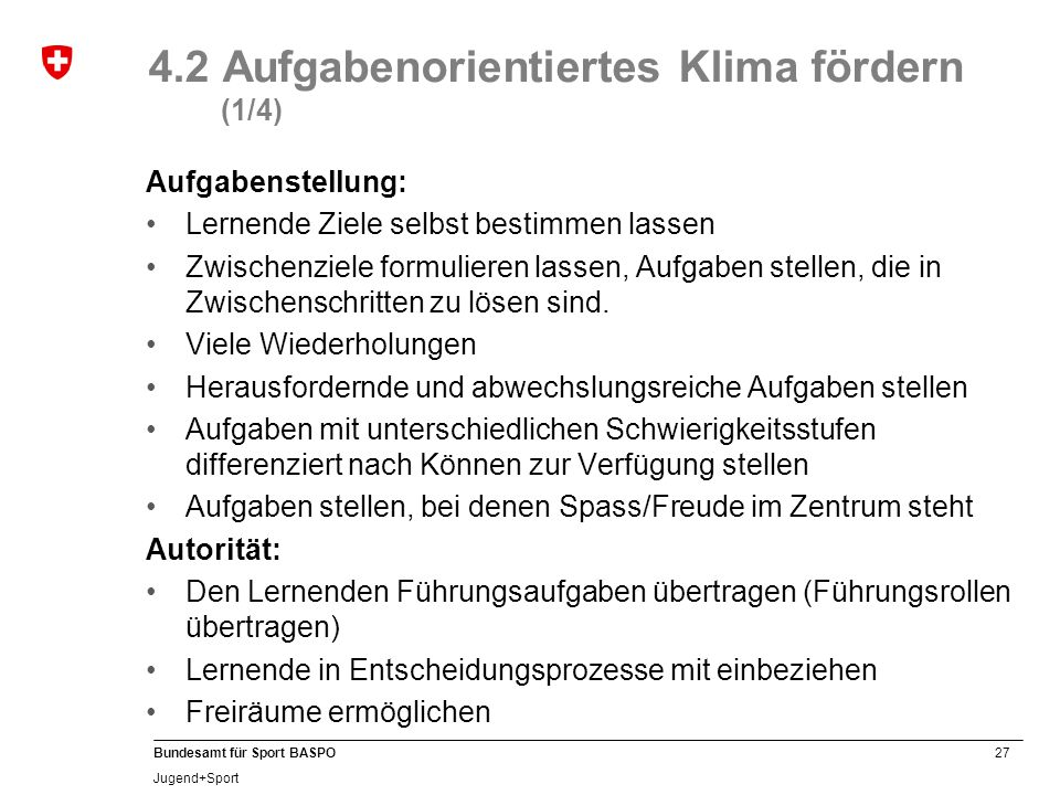4.2 Aufgabenorientiertes Klima fördern (1/4)