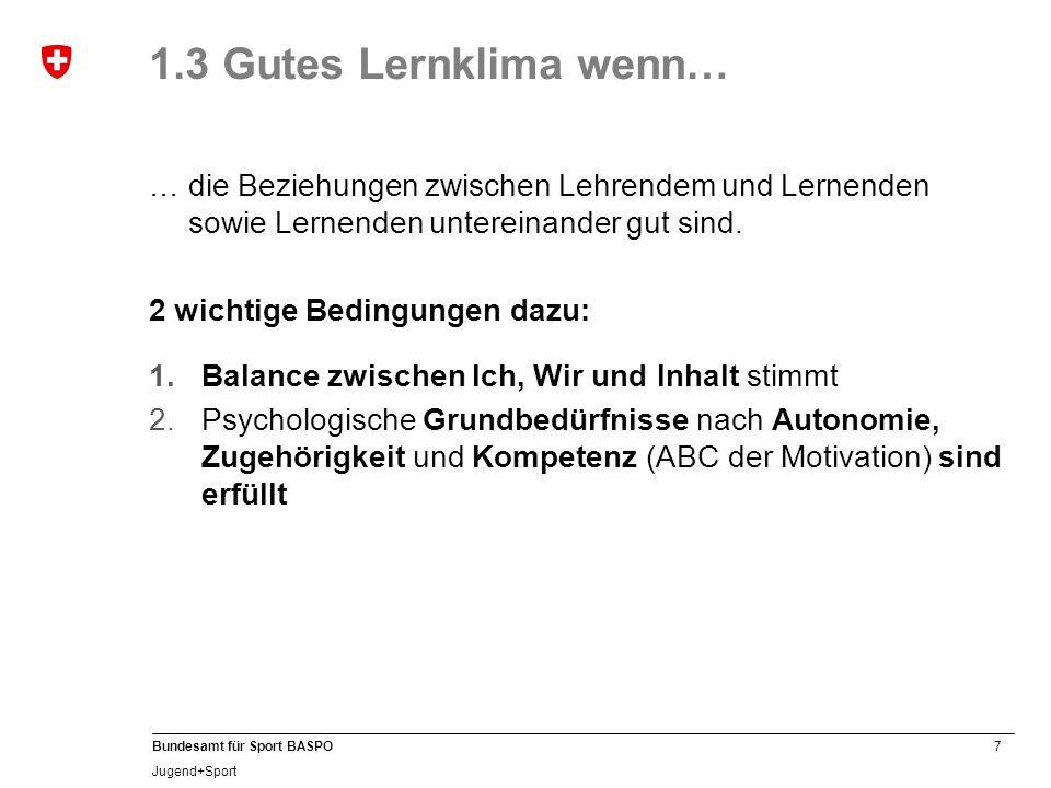 1.3 Gutes Lernklima wenn… … die Beziehungen zwischen Lehrendem und Lernenden sowie Lernenden untereinander gut sind.
