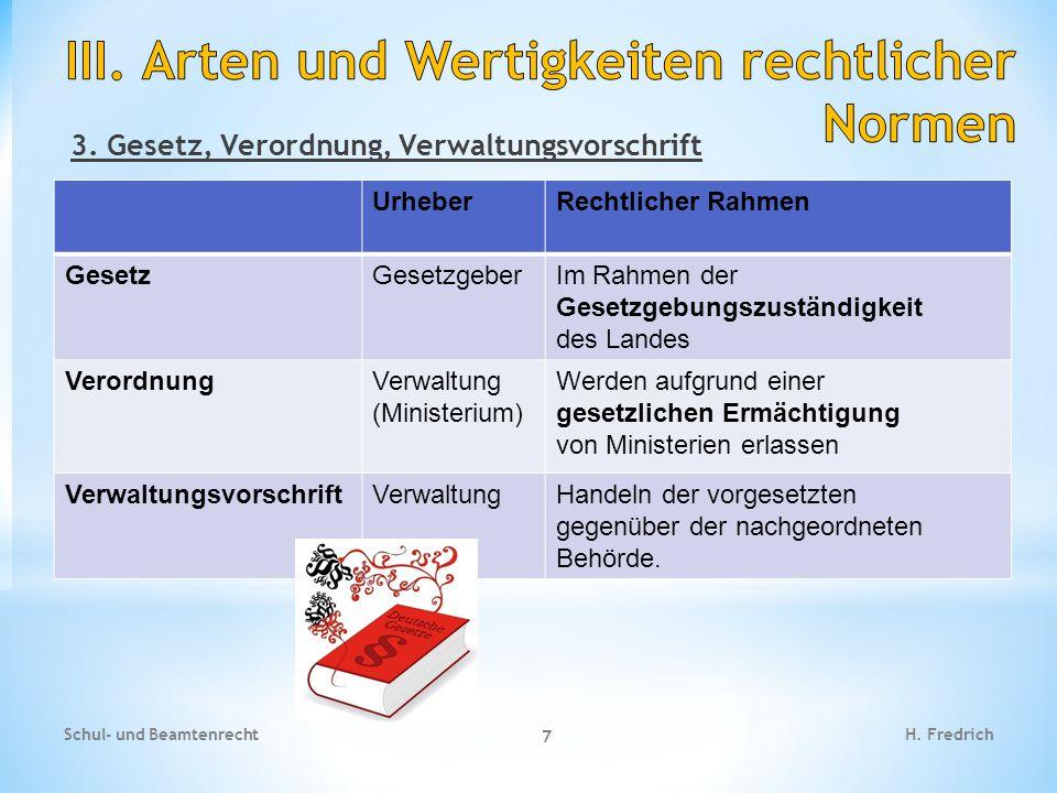 III. Arten und Wertigkeiten rechtlicher Normen