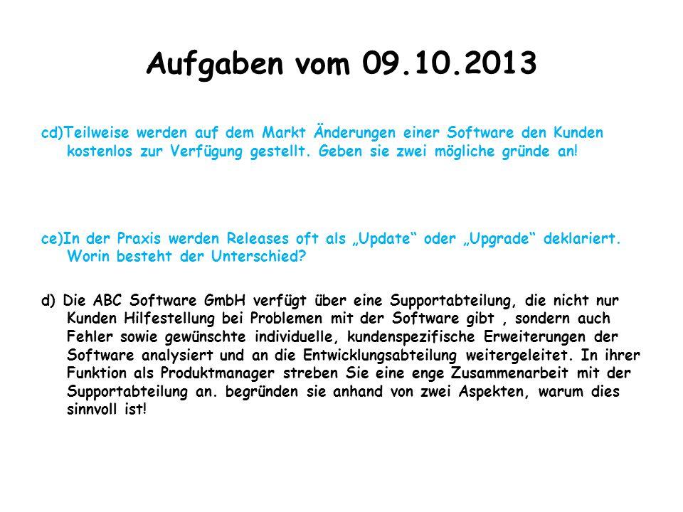 Aufgaben vom 09.10.2013