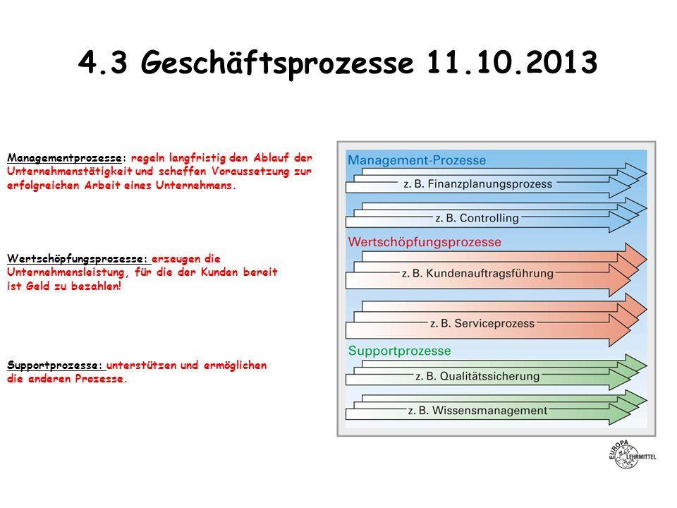 4.3 Geschäftsprozesse 11.10.2013 Managementprozesse: regeln langfristig den Ablauf der. Unternehmenstätigkeit und schaffen Voraussetzung zur.