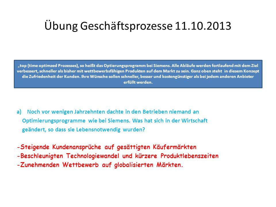 Übung Geschäftsprozesse 11.10.2013