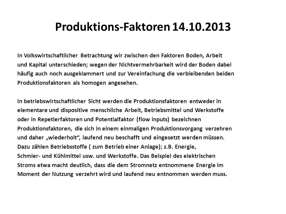 Produktions-Faktoren 14.10.2013