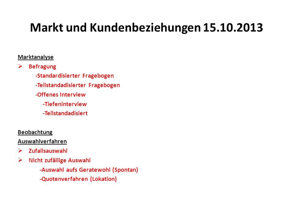 Markt und Kundenbeziehungen 15.10.2013