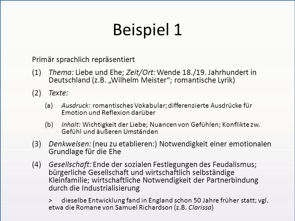Beispiel 1 Primär sprachlich repräsentiert