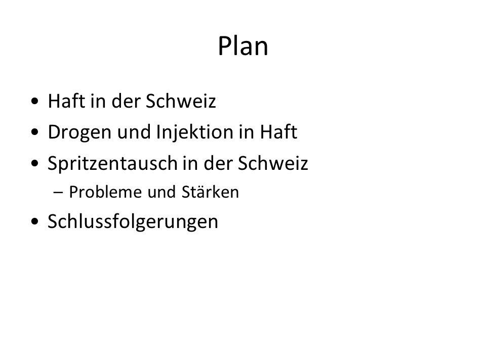 Plan Haft in der Schweiz Drogen und Injektion in Haft